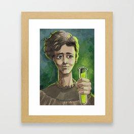 great female scientist testing radiation Framed Art Print