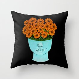 flowerhead flowerpot Throw Pillow