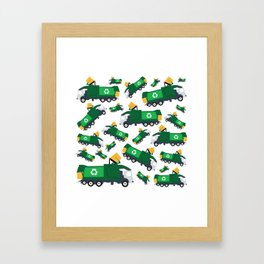 Garbage Truck Toys Truck Pattern Framed Art Print
