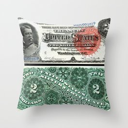 $2 Silver Certificate Throw Pillow