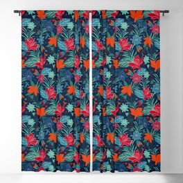 Flower Power - Exotic Flowers In Beautiful Seamless Pattern Blackout Curtain