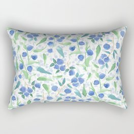 Watercolor Blueberries Rectangular Pillow