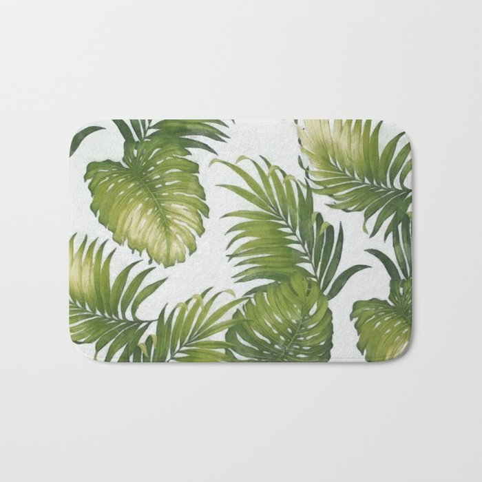 Monstera and palm leaves Bath Mat