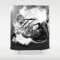 decal Shower Curtains featuring fly away bw by haroulita
