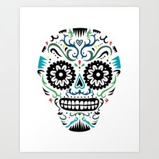 Sugar Skull SF multi -  on white Art Print