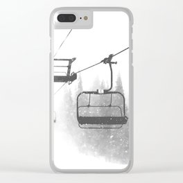 Chairlift Abyss // Black and White Chair Lift Ride to the Top Colorado Mountain Artwork Clear iPhone Case
