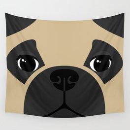Pug Close Up Wall Tapestry