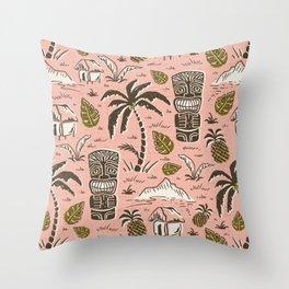 Tiki Party - Pink Throw Pillow