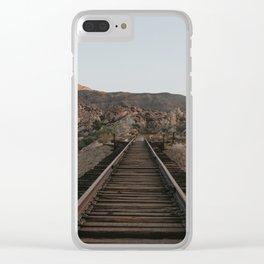 Tracks through mountain Clear iPhone Case