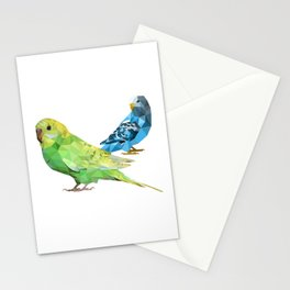 Geometric green and blue parakeets Stationery Cards