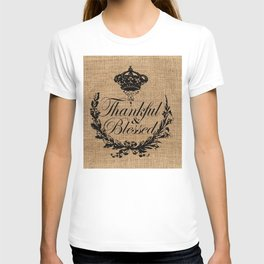 french country jubilee crown thanksgiving fall wreath beige burlap thankful and blessed T-shirt