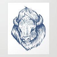 buffalo Art Prints featuring Buffalo by Jess Moore