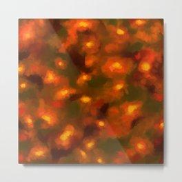 Glowing Ember Floral Abstract Metal Print