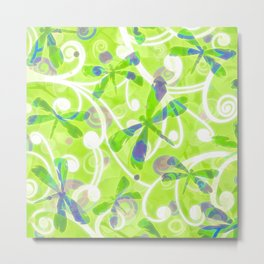 Dragonflies on the Fly /spring green Metal Print