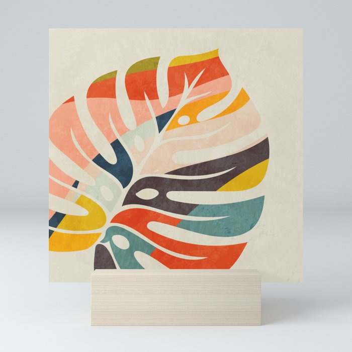 shape leave modern mid century Mini Art Print