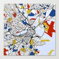 boston map Canvas Prints featuring Boston mondrian map by Mondrian Maps