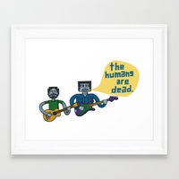 flight of the conchords Framed Art Prints featuring Conchords Robots by Annie Dwyer Internicola