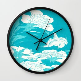 Japanese flowers. Turquoise Blue Wall Clock