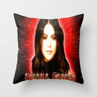 selena gomez Throw Pillows featuring Dedication #1 - Selena Gomez #1 by InnerSymbiance