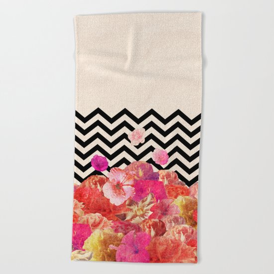 Chevron Flora II Beach Towel
