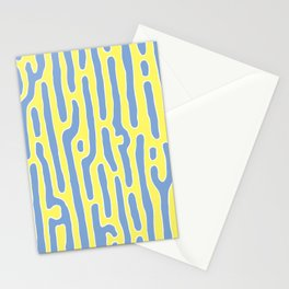 Neon Yellow & Blue Abstract Stripes  Stationery Cards