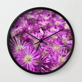 Pink Flower Field Wall Clock