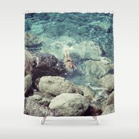swimming Shower Curtains featuring SWIMMING by Marte Stromme