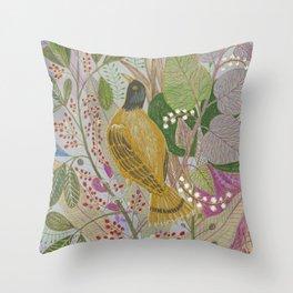 Folksy Autumn Bird Throw Pillow