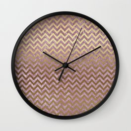 Pink and Gold Faux Velvet Grunge Chevron Stripes Wall Clock