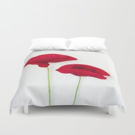 Two Red Poppies Duvet Cover