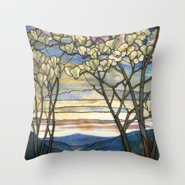 Louis Comfort Tiffany - Decorative stained glass 5. Throw Pillow