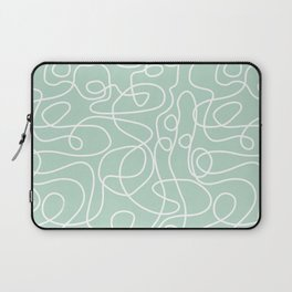 Doodle Line Art | White Lines on Mint Green Laptop Sleeve