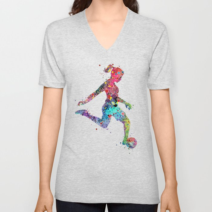 Girl Soccer Player Watercolor Print Sports Print Soccer Player Poster Unisex V-Neck