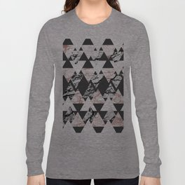 Modern Black White Rose Gold Marble Geo Triangles Long Sleeve T-shirt