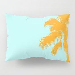 Orange palm trees silhouettes on blue Pillow Sham