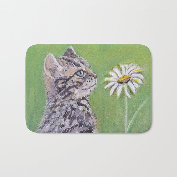 Kitten With Daisy Bath Mat By Cat