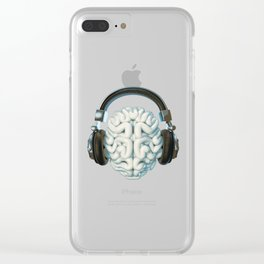 Mind Music Connection /3D render of human brain wearing headphones Clear iPhone Case