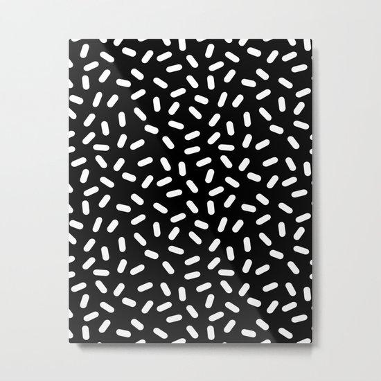Bingo - black and white sprinkle retro modern pattern print monochromatic trendy hipster 80s style Metal Print