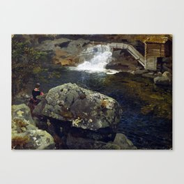Hans Gude By the Mill Pond Canvas Print