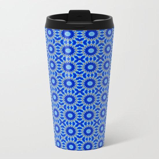 Blue and Yellow Circle Repeating Pattern Metal Travel Mug