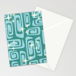 Mid Century Modern Cosmic Galaxies 234 Teal and Blue Stationery Cards