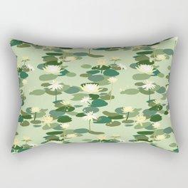 Waterlily pattern in Green Rectangular Pillow