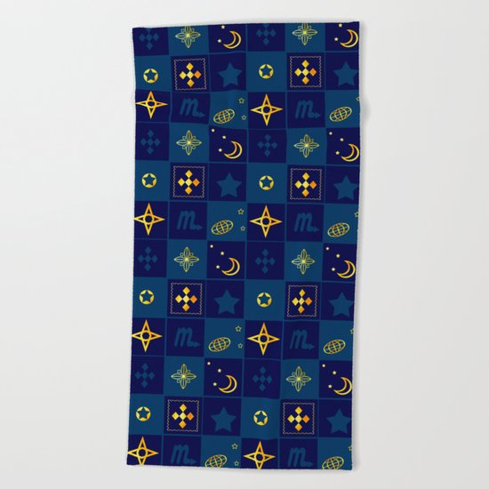 Night Waltz of the planets. Beach Towel