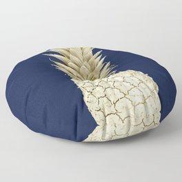 Pineapple Pineapple Gold on Navy Blue Floor Pillow