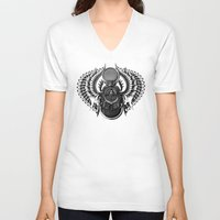 egyptian V-neck T-shirts featuring Egyptian Scarab by BIOWORKZ