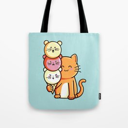 Kawaii Cute Cat and Micecream Tote Bag
