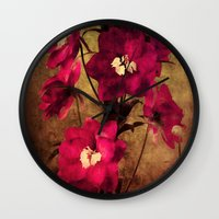 vintage flowers Wall Clocks featuring Vintage Flowers by Christine Belanger