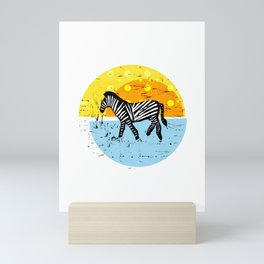 African Zebras – Animal Illustration Mini Art Print