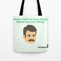 swanson Tote Bags featuring Swanson by tukylampkin