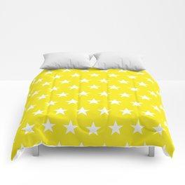 White stars on yellow pattern Comforters